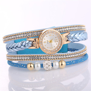 Women Leather Ladies Quartz Wrist Watch Gift Watches Beautiful Metal Pendant Ladies Round Bracelet Watch Clock New Fashion#0930Q0108