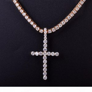 5mm Iced Out Cubic Zircon Tennis Cross Pendant Necklace With Tennis Chain Men Hip hop Jewelry Copper Material
