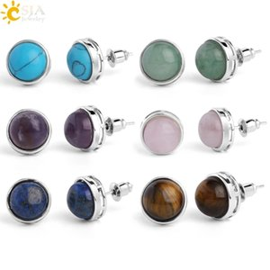 CSJA Natural Stone Round Stud Earrings Pink Quartz Tiger Eye Crystal Silver Color Simple Ear Jewelry for Women Earring Gift G063