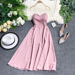OCEANLOVE Sexy Party Dress Solid A-line Backless Summer Dress Lace Up High Waist Elegant Long Dresses Zipper Beach