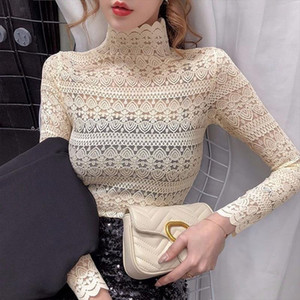 Fashion Floral Embroidery Lace Blouses Women Spring Summer Sexy See through Streetwear Tops Ladies Casual Long Sleeve shirts