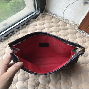 High Quality New Hand bag Travel Toiletry Pouch 26cm Protection Makeup Clutch Women Leather Waterproof Cosmetic Bags For Women With Dust Bag