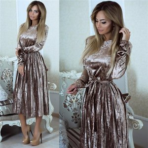 Susirita Vintage robe de velours à manches longues Vintage Femme Bodycon Belted Robe MIDI PRINTEMENT PLATED ROBES VESTIDOS ROBE FEMME Y200623