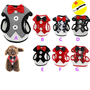 waistcoat dogs clothing pet supplies cat dog accessories Bow tie evening dress vest mesh back with traction rope