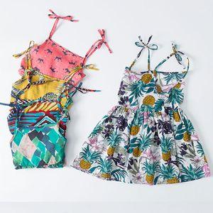 Girl's Dresses Girl Summer Dress 2021 Rainbow Flower Print Floral Baby Girls Spring Bohemian Style Sweet Vintage Beach 2-6 Years1