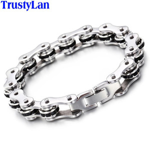 TrustyLan Fashion Stainless Steel Bike Bracelet Men With Black CZ Bicycle Motorcycle Chain Bracelets Punk Rock Jewelry Armband