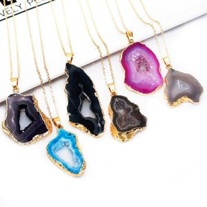 Natural Raw Geodo Stone Pendant Necklace Healing Crystal Quartz Reiki Chakra for Women 1pcs