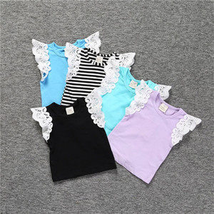 Children Summer Shirt Pure Color Stripe Boy Girl Vest Lace Baby Clothing Comfortable And Breathable Hot Sale 12sj J2