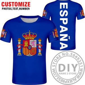 Испания Футболка Diy Free сшитого Имя Номер Esp T Shirt Nation Флаг Es Испанская Страна Колледж фотопечать Логотип Текст Одежда wmtJhO
