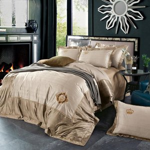 4Pcs Bamboo Silk Jacquard Embroidery Luxury Bedding Set Bed Set King Queen Size Duvet Bedsheet Cover Pillowcase