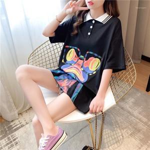 Summer super fire short-sleeved t-shirt female Korean version loose mid-length Japanese doll lapel shirt top tide1