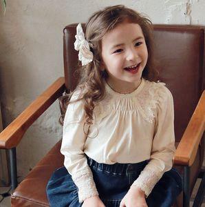 Sweet Girls Lace Ruffle T-shirt Spring New Children Cotton Long Sleeve Tee Shirt Korean Style Cute Kids Princess Tops 363