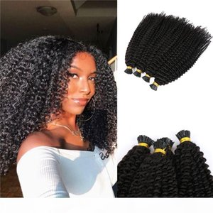 10A Grade Afro Kinky Curly I tip Hair Raw Indian Human Hair Pre bonded Extensions Natural Black I-tip hair 100g 1g strand