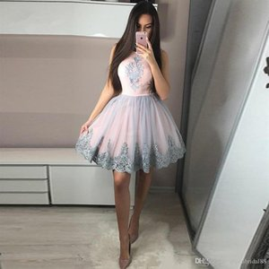 Above Knee Mini Homecoming Dresses Pink Satin Puff Tulle Skirt A-Line Graduation Dreses Lace Appliques Short Prom Gowns