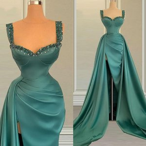 Green Spaghetti Straps Formal Evening Dress 2021 Arabic Aso Ebi Satin Ruched Split Prom Gowns Beaded Formal Party Dress