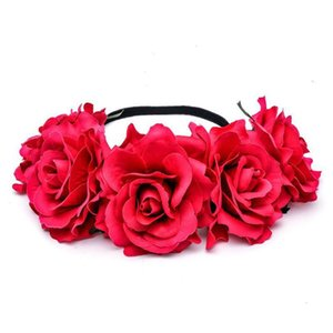 Rosa Flor Noiva Noiva Cabeça Cabo de Cabelo Mulheres Flores Faixa de Cabelo Estúdio de Cabelo Estúdio Coração Coroa de Flor Coroa Qylashv