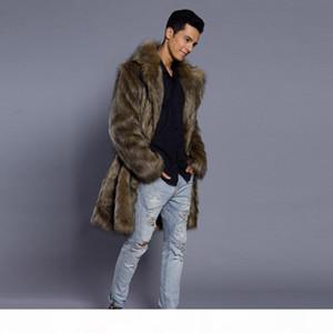 Mens Jacket Coat Warm Winter Thick Overcoat Coat Jacket Faux Fur Parka Outwear Cardigan Fashion Men Clothing Plus Size