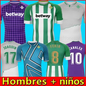 2020 21 Real Betis futbol Jersey Mor 17 JOAQUIN 10 CANALES Erkekler çocuklar Camiseta de Fútbol Juanmi FEKIR Bartra CANALES camiseta de futebol