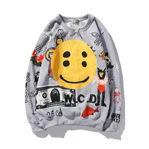 KANYE Smiley Flame Print Round Neck Sweatshirt Men and Women Plus Velvet Streetwear Stranger Things Hoodie Pullover Mens Pullover