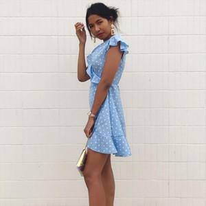 Womens Dress Summer Sexy V neck Dot Slim waist A line Dress Fashion butterfly Sleeve Elegant Vintage Mini dress feminina