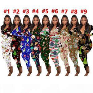 Women Jumpsuit Slim Christmas Printed Onesies Fashion Home Wear V-neck Long Sleeve Pants Ladies New Tight Rompers Home Wear