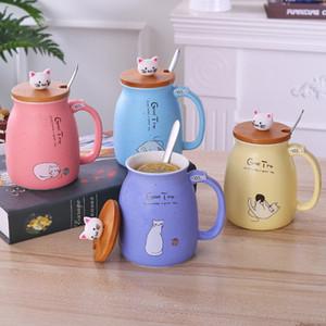 Tasses à café Cat Ceramic Coupes avec cuillère Couvercle Dessin animé Filles Mode Mouvement Tasse de lait Résistant à la chaleur Résistant à la chaleur Entrepôt Ware 4 couleurs en gros LLS126