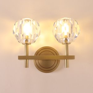 Lustre K9 Crystal Led Wall Lamp Metal Mounted Wall Sconces American RH Lamp Fixtures for Corridor Indoor Lighting Lamparas
