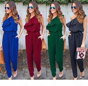 2018 New Fashion Summer bursting slanted shoulder tie pocket stitching pants Sexy Jumpsuits Women Clothing High Quality Cheap Sale