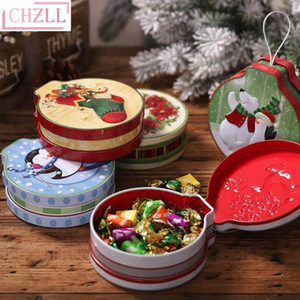 CHZLL Metal Round Christams Candy Boxes Christmas Decor for Home Santa Claus Xmas Elk Deer Gift Boxes Noel Present Gift Navidad