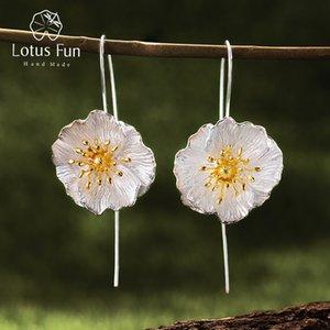 Lotus Fun Real 925 Sterling Silver 18K Gold Handmade Fine Jewelry Cute Blooming Poppies Flower Dangle Earrings for Women Brincos Y1130