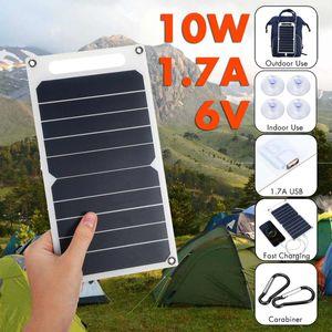 10W 6V Solar Panel Tragbare SunPower Solarzellen USB-Mobiltelefon Photovoltaik-Ladekraftbank mit Saugern und Karabiner