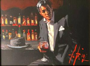 Siyah takım elbise kırmızı şarap ev dekorasyon handpainted HD baskı yağlıboya tuval üzerine büyük duvar sanatı tuval resimleri 210106