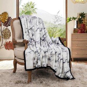 NIOBOMO NOUVEAU 2020 Couvertures de couvre-lits à carreaux à carreaux pour lit Couverture de haute qualité 3D 100% polyester noir pierre blanche série1