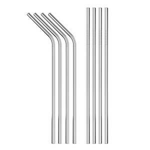 Durable Stainless Steel Straight Bent Drinking Straw Curved Metal Straws Bar Family kitchen for Beer Fruit Juice Drink Party Accessory WB308