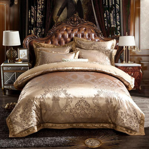 Подвесные комплекты Svetanya Golden Baroque European European Satin Silk хлопковое белье жаккардовый набор Queen King Size Bedsheet Cover Cover подушка Sham1