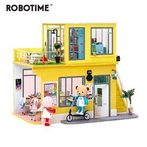RoboTime Neue Ankunft Luxus DIY Haus mit Beschädigung Kinder Erwachsene Miniatur Holz Puppenhaus Modell Kit Puppenhaus TD Y200413