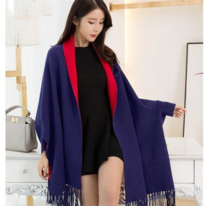 Winter Sleeve Poncho Women Capes Wearable Shawls and Wraps for Ladies Thicken Pashmina Stoles Reversible Black Scarves Ponchos 201214