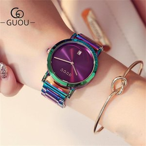 Guou Luxury Women's Acero Inoxidable Correas Coloridas Púrpura Mujeres Relojes Moda Mira Reloj Muyer Zegarek Damski 201218