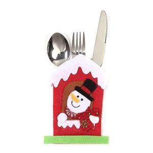Santa Hat Reindeer Christmas New Year Pocket Fork Cutlery Holder Bag Family Party Table Dinner Decoration Tableware