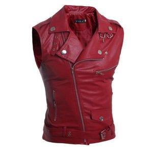 VXO Summer Sleeveless Pu Leather Motorcycle Waistcoat Men Pu Leather Jacket Personalized Multi zippers Coat