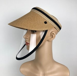 Grass Sun Hat With Protective Mask Face Shields Anti-Saliva Full Face Cover Grass Hats Empty Top Sun Caps Fashion Tennis Cap Y200714