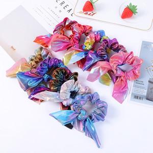 Conejo Oreja Hairband Rainbow Bow Pein Pein Lazs Glitter Laser Elástica Bandas de Pelo Mujer Ponytail Portail Muchachos Scrunchies Accesorios para el cabello 427 K2