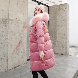 Long Nice Solid Gold Velvet Slim Women Winter Jacket Cotton Padded Warm Thicken Lady Coat Long Coats Parka Womens Jackets