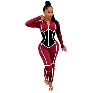 Contraste Color Womens Skinny Ropa Sexy Diseñador de paneles Para Mujer Romper Slim Designer con capucha Womens Monos Moda