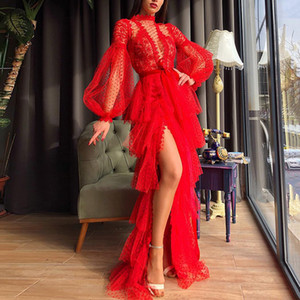2020 New Cross-Border Foreign Trade Womens Independent Station Sexy Mesh Long Sleeve Ball Gown Dress New
