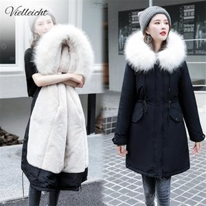 Vielleicht -30 Degrees Snow Wear Long Parkas Jacket Hooded Clothing Female Fur Lining Thick Winter Coat Women Q1119