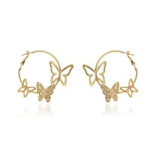 Vintage Exaggerated Butterfly Hoop Earrings Fashion Hollow Three Butterfly Earrings Animal Charm Drop Earring for Women Statement Jewelry