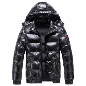 New Winter Jacket Men Cotton padded Coat Fashion Hooded Men parkas Trend Embroidery Motorcycle Jacket Men Black Grey Red