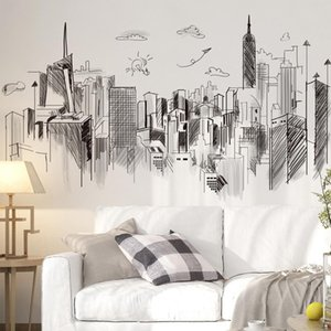 Black Buildings Wall Stickers DIY Architecture Mural Decals for Living Room Kids Bedroom Office Home Decoration
