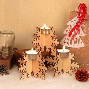 Wooden Christmas Candle Holder Set 12pcs set Candlestick Building Block Holiday Party Wooden Diy Candle Holder Decor Wholesale